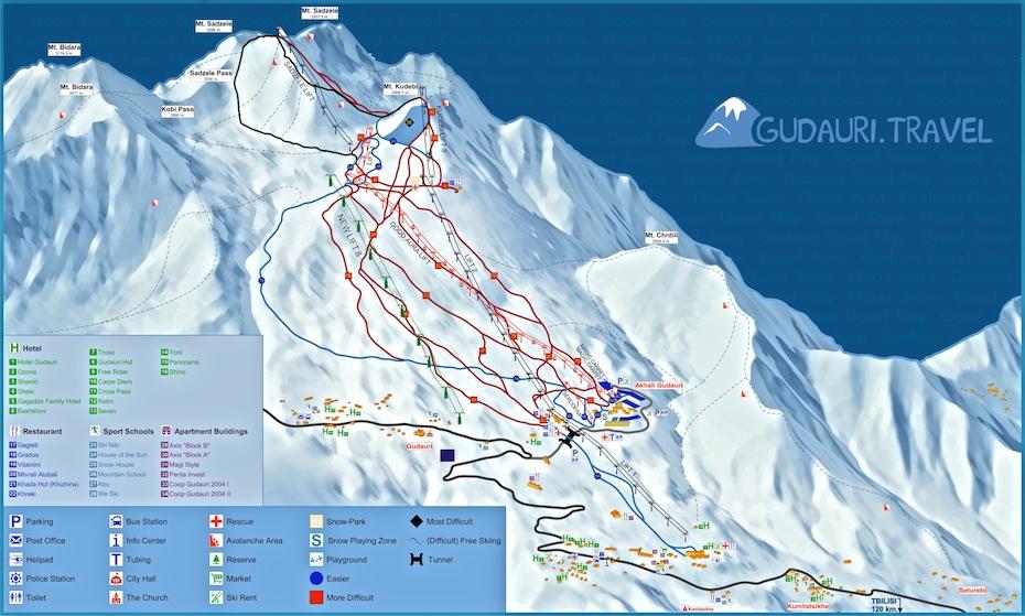 Map of the ski runs and ski lifts at the Gudauri ski resort (Georgia).