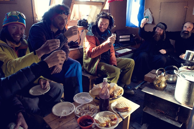 Enjoying the hospitality of Ortodox Monks in their mountain top monastery near the Gudauri resort. Photo - Oleg Gritskevich