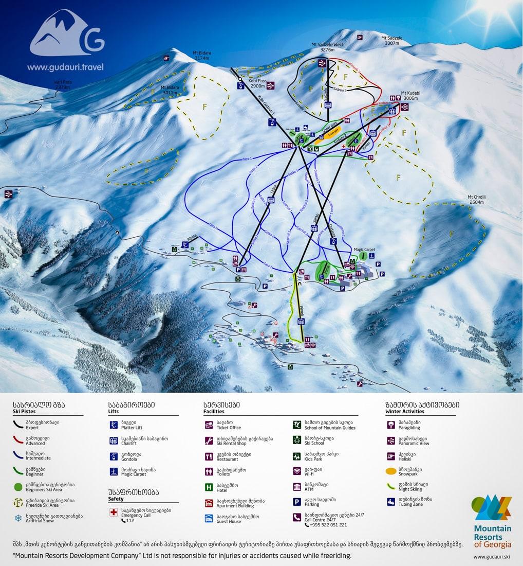 Gudauri Map: hotels, ski slopes and ski lifts