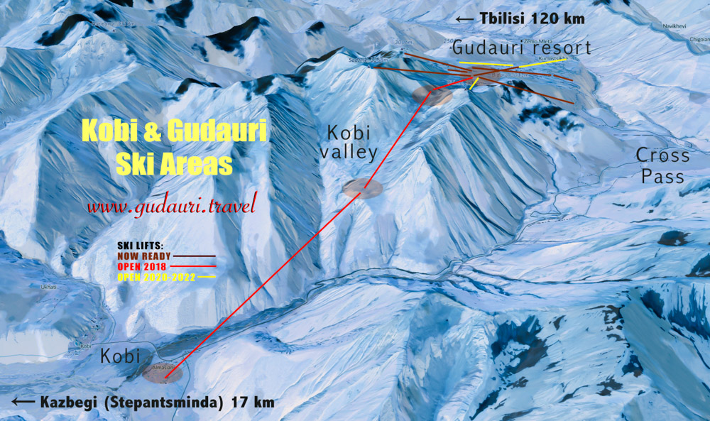 Gudauri Kobi Map of ski lifts