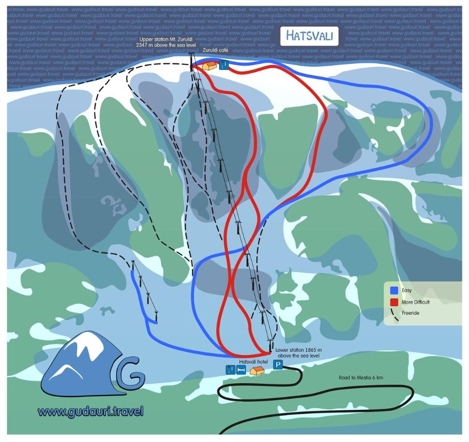 Map of ski lifts and slopes in Hatsvali (Mestia, Svaneti Region. Georgia)