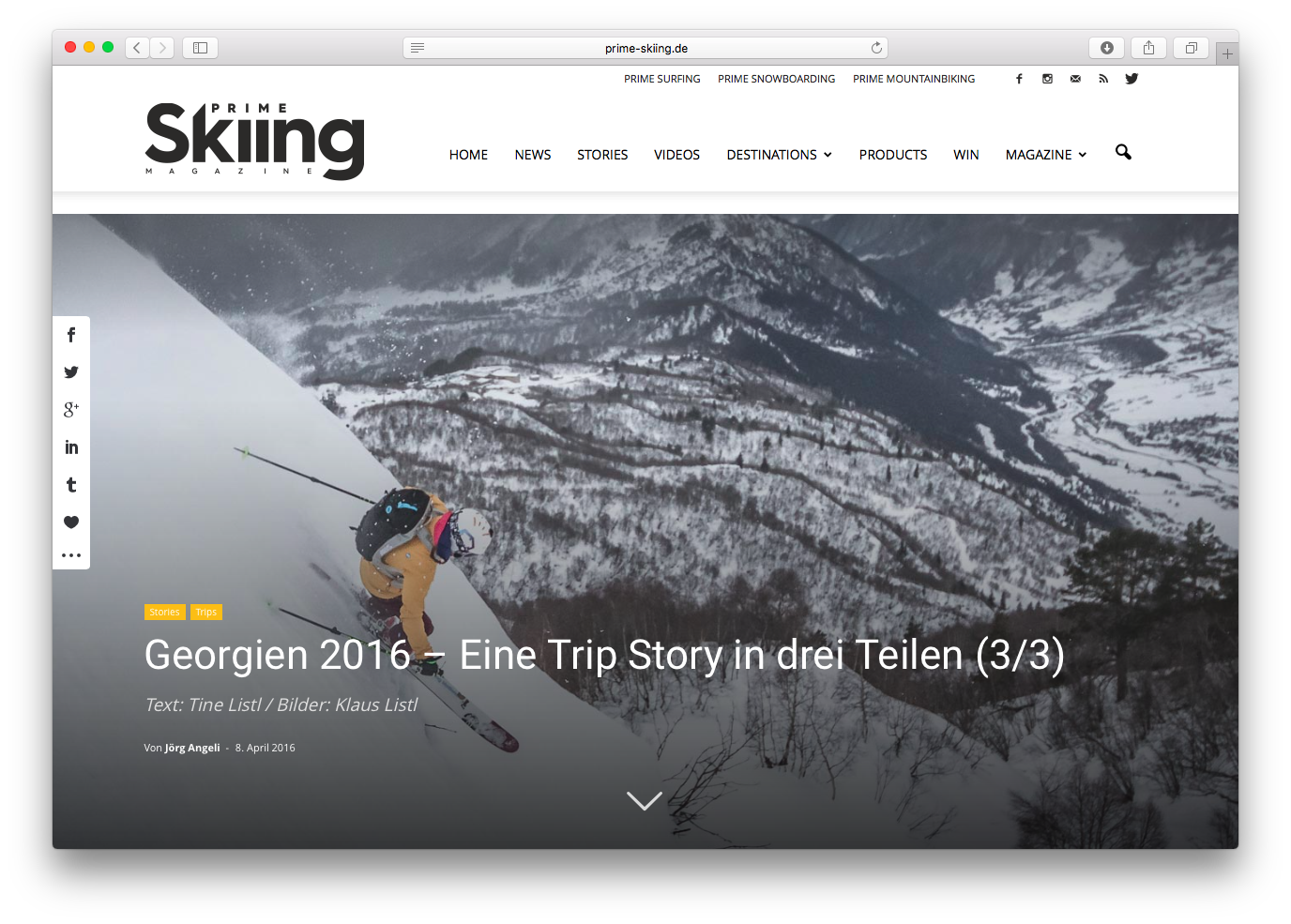 Публикация о Гудаури Тревел в http://prime-skiing.de/