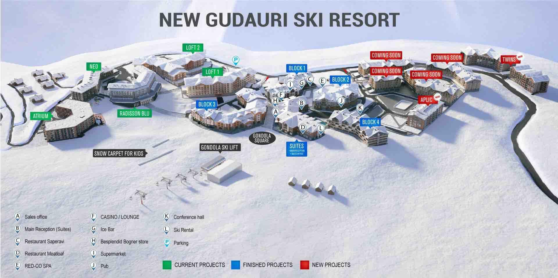 New Gudauri Map - Aparthotel Locations