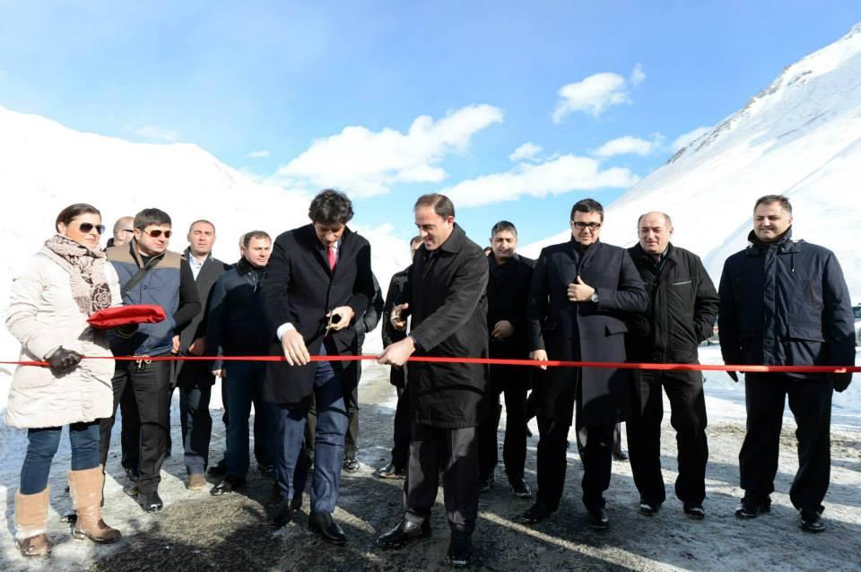 Открытие новой дороги через Крестовый перевал из Гудаури в Казбеги