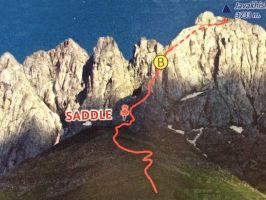 3733 метров., Скалолазание, Пик Джавахишвили с севера, маршрут Челидзе (B)