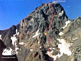 3642 метров., Скалолазание, Пик Рчеулишвили с севера (J)