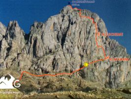 3733 метров., Скалолазание, Пик Джавахишвили с севера, Маршрут Серебрякова (C)
